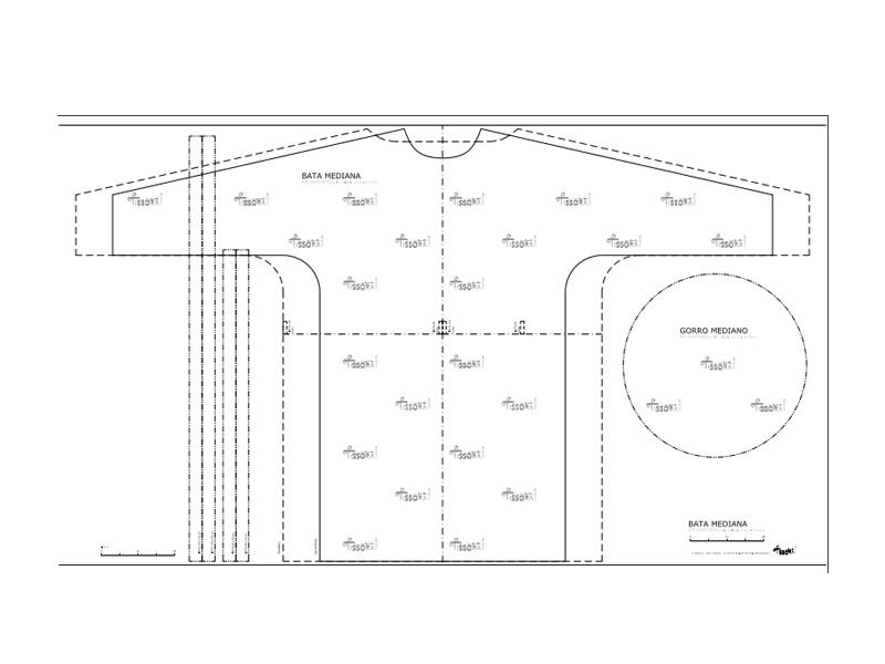 Bata y gorro mediano, para impresora gran formato. Hoja 210 x 120 cm